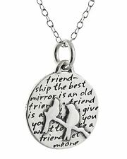 Two Birds Necklace - 950 Sterling Silver - Inspirational Friendship Gift Pendant