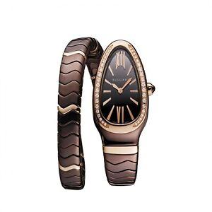 New Bulgari Serpenti Spiga Brown Ceramic 18K Rose Gold Quartz 35 mm Watch 103060