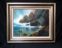 """Original Jack Laycox Oil on Canvas """"Shell Collectors"""" Impressionist Painting"""