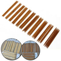 55pcs 11 Sizes Double Pointed Carbonized Bamboo Knitting Needles Crochet Set UK