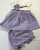 Isobella & Chloe Baby Girls 3 Months Purple and White Tunic Dress & Bloomer Set