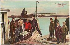 """A Good Catch"" Fishermen in Erie PA Postcard 1911"