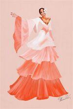 """DIANA ROSS MAHOGANY WARDROBE COSTUME SKETCH 12 X 18"""" peach ruffles (94)"""