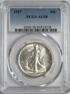 1917 Walking Liberty Half Dollar  AU-58 PCGS  Blast White Classic Blue Label