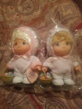 Precious Moments Hi Babies Boy & Girl in Bunny Suit Doll Easter 1994 Enesco New