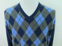 John Ashford Men's 100% Cashmere Blue Diamonds Argyle Pullover V-Neck Sweater XL