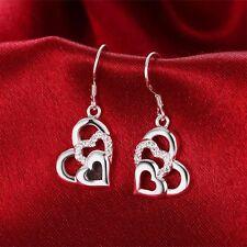 Hook Rhinestone Crystal Heart Dangle Earrings Ear Studs Silver Plated