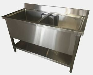 Commercial Stainless Steel Deep Double Pot Wash Catering Sink