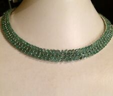 HUGE NATURAL AAA GREEN EMERALD OVAL & MARQUISE STERLING 925 SILVER NECKLACE 15.5