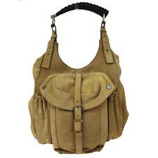 Auth YVES SAINT LAURENT Logos Monbasa Shoulder Bag Suede Leather Beige 09A401