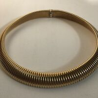 Vintage Cleopatra Style Choker Necklace Egyptian Revival Gold Tone Tribal Signed