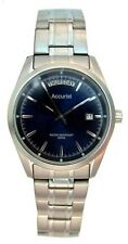 Accurist Mens Stainless Steel Bracelet Watch Blue Dial Day Date MB730N 100M New