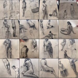 1940s french Nude Art Original Sketch Book Art Drawings Naked Vintage Antique