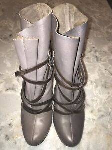 Leather Taupe Booties with Brown Straps 9.5