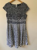 Vivid Polka Dot Dress Navy White Cap Sleeve Got And Flare Cotton Size 14