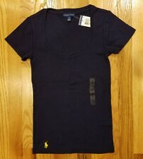 Ralph Lauren Polo Women Ribbed Scoop Neck T Shirt Pony Logo Sz Small THESPOT917