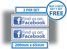 2 x Find us on Facebook Stickers Shop Window Taxi Van Media Advertising Decal