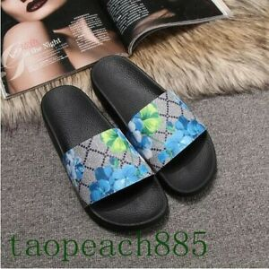 Women's Slippers Slide Sandals Floral Printing Rubber Flip-flops Shoes Red Green