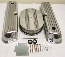 "Ford 302 351W Windsor Retro Finned Aluminum Valve Covers w 12"" Air Cleaner Kit"