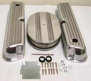 "Ford 302 351W Windsor Retro Finned Aluminum Valve Covers w 12"" Air Cleaner Kit"