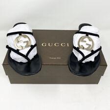 Gucci Black Leather Logo Sandals Slides 38