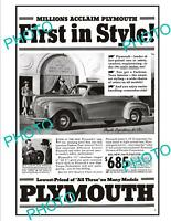 OLD LARGE HISTORIC ADVERTISING POSTER, PLYMOUTH MOTOR CAR COMPANY c1940