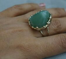 NEW HandCrafted Large Green Jade Semi Precious Stone Light Gold Ring Adjustable