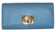 MICHAEL KORS Astrid Sky Blue Grain Leather Bifold Clutch Wallet  NWT