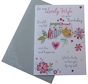603 Single Birthday Card - For My lovely Wife on your Birthday (Size HJ)