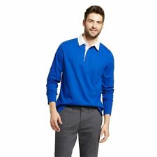 Goodfellow Men's Long Sleeve Cotton Rugby Polo Shirt Solid Blue/White Sz L NWT