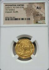 NGC AU Justin II AV Solidus. 565-578 AD. Constantinople or Alexandria Mint.