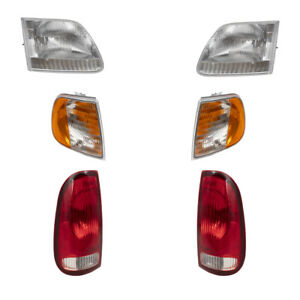 Headlights Tail Lights & Park Signal Lamps 6 Pc Set for Ford F150 F250 Pickup