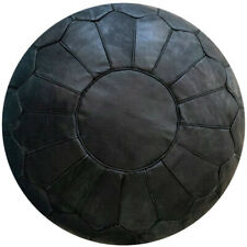 Sale Moroccan Genuine Leather Boho Pouf Ottoman Footstool Pouffe Black Color
