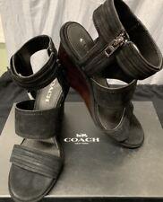 496674a682f Coach Women s Delaney Black Lux Suede Wedge Heel Shoes Sandals 9m