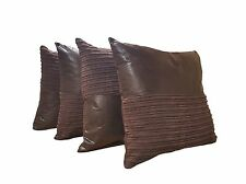 4 x  SNAKESKIN LEATHERETTE CORD Brown Cushions Filled 21""