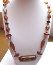 collier sautoir bijou vintage couleur or cabochon perle résine couleur ambre 788