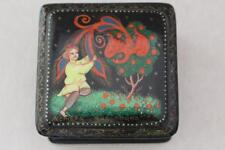 Vintage Russian Lacquer Box  Artist Signed Man holding bird