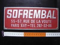 Ancienne Plaque Aluminium ? SOFREMBAL rue de la Voute PARIS XII 12 GARAGE LOFT