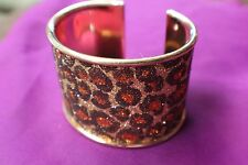 Bracelet, Steel Bangle cuff in gold finish with sparkles, 45 mm wide