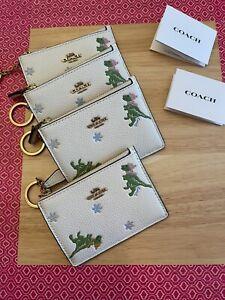 ❤️ Coach Rexy Print Mini ID Skinny B4/Chalk Wallet
