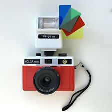 Holga 135BC White / Red Film Camera (discontinued) With Separate Flash & Filters