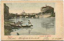 1901 Roma veduta del fiume Castel S. Angelo S. Pietro barca FP COL ANIM