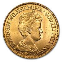 Netherlands Gold 10 Guilders Average Circ - SKU #24015