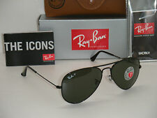 Authentic Ray-Ban Aviator 3025 Black Frame Green Polarized RB 3025 002/58 58mm