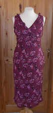 KALEIDOSCOPE burgundy red-purple pink floral chiffon midi calf long dress 16 44