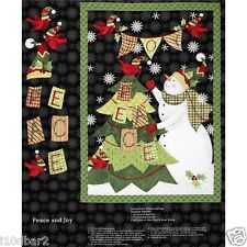 PEACE & JOY FABRIC SNOWMAN WALL HANGING CHRISTMAS FABRIC SPRINGS CREATIVE NEW