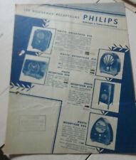 ancien prospectus publicitaire philips radio recepteur
