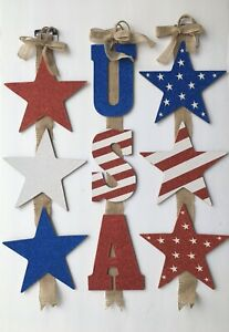 "Fourth July Red White Stripe Red ""USA"" Vertical Letters  Sign 3 Tiered 26"" in."