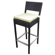 WOVEN WICKER OUTDOOR BAR CHAIR - LUXURY BROWN RATTAN BARSTOOL - PRESTON-SET OF 2
