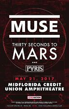 MUSE / THIRTY SECONDS / PVRIS TO MARS 2017 CONCERT POSTER FOR TAMPA OR SALT LAKE